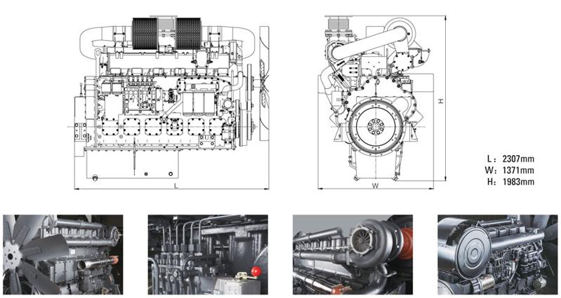 上柴W系列800千瓦发电机组机组安装尺寸图